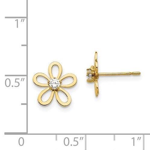 14k Gold CZ Flower Children's Earrings