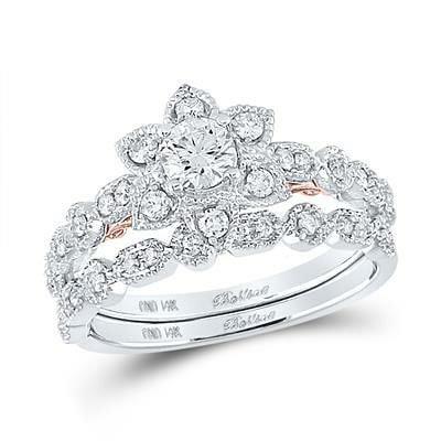 14K Diamonds Flower Duo Ring