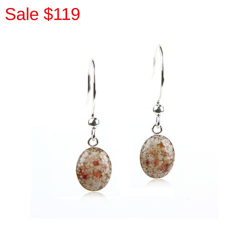 Sterling Silver Pink Sand Small Oval Drop Earrings
