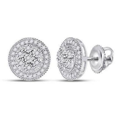 White Gold & Diamond Circle Earrings