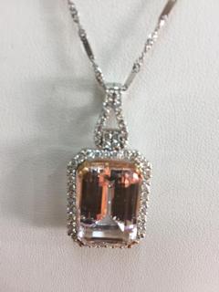 14K 22ct Kunzite 1.10ctw Diamond Pendant