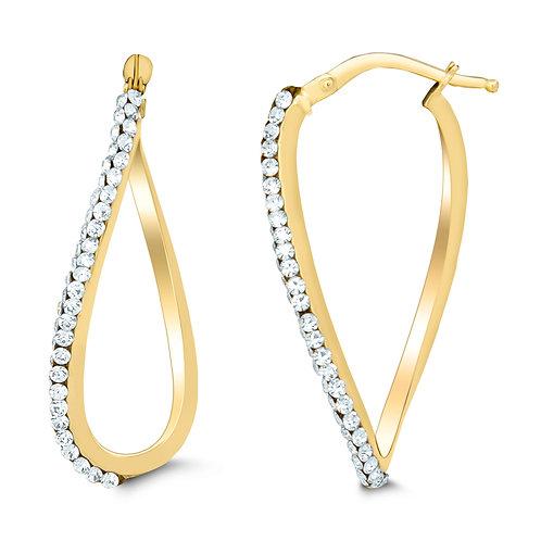 14K Gold Swarovski Crystal Figure Of Eight Hoop Earrings