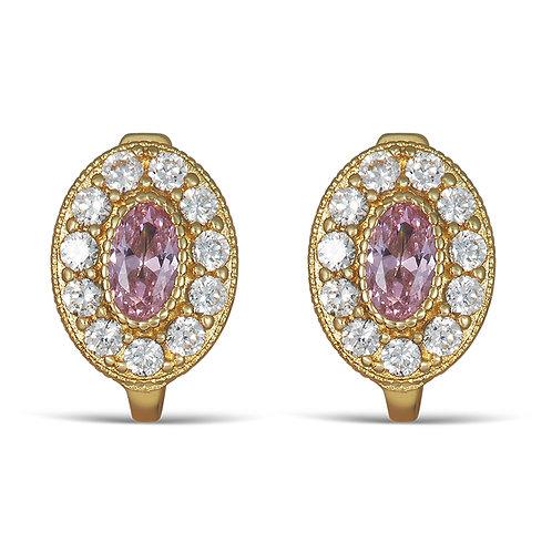 14K Gold 2.0GR Pink Cubic Zirconia Huggie Earrings