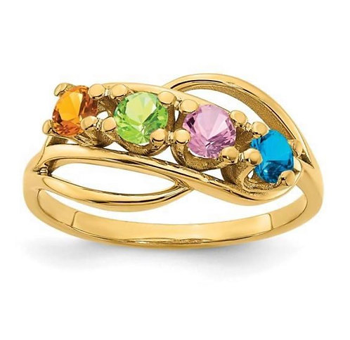 14K Gold Four Stone Mothers Ring