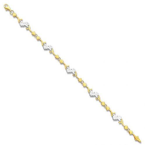 14K Gold Two Toned Flower Heart Bracelet
