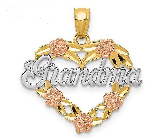14K Gold Heart Grandma Pendant