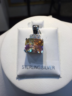 Sterling Silver Bermuda Lucky Stone with CZ Pendant