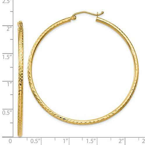 14k Gold Diamond cut 2mm Hoop Earrings 4