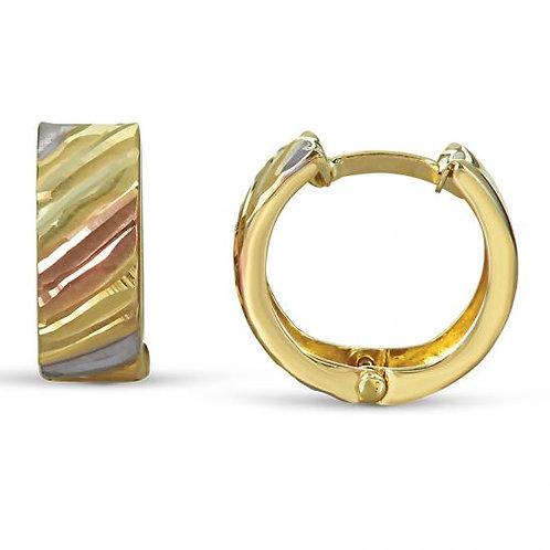 14K Gold Tricolor Huggie Earrings