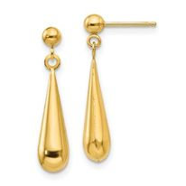 14K Gold High Polish Drop Earrings
