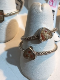 Sterling Silver Stackable Bermuda Pink Sand Heart Ring