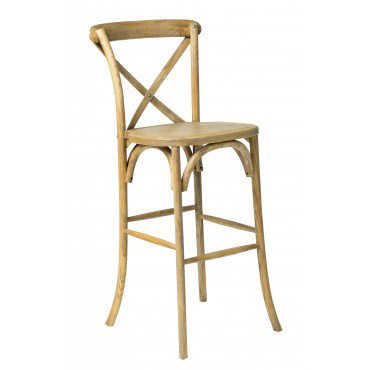 Oak Cross Back Bar Stool with Cream or rattan seat pad​​​​​​​