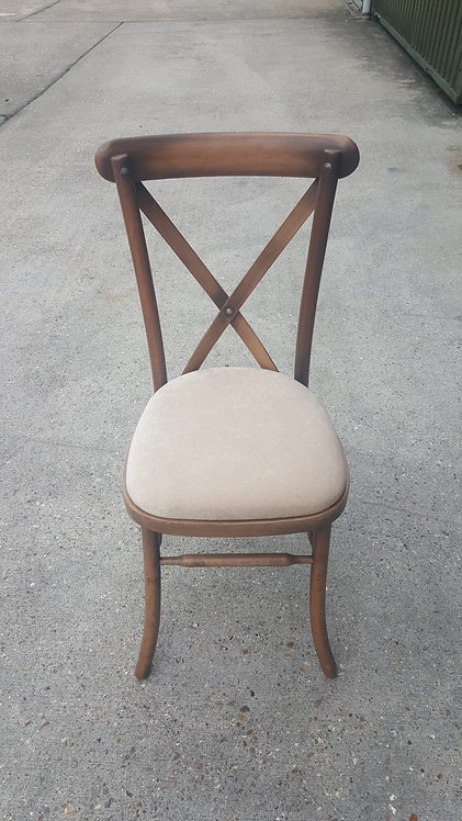 Oak Cross Back Chair with Ivory Seat Pad