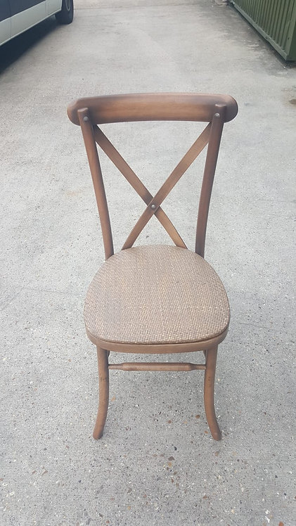 Oak Cross Back Chair with Rattan Seat Pad