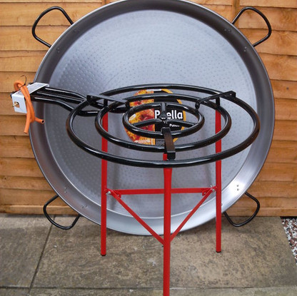 Large paella pans and burners