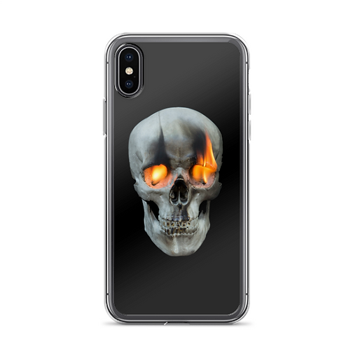 Skull with Burning Eyes Phone Case by Timothy White