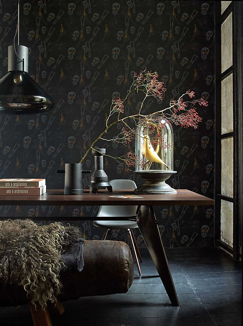 Black Skeleton Pattern Wallpaper Mural 10' X 8' by Timothy White
