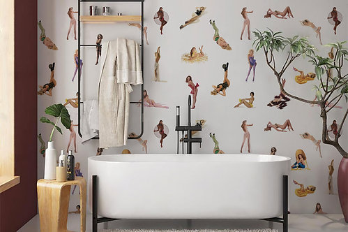 Pin-Up Girl Pattern Wallpaper Mural 10' X 8' by Timothy White