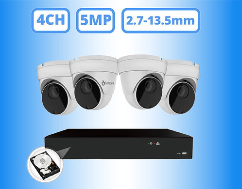 Complete 4 Channel 5MP Motorized Turret IP Surveillance System - Includes 1TB Ha