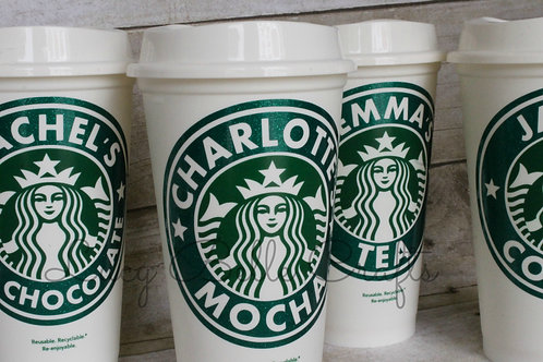 Starbucks Coffee Cup, Glitter Personalized, Reusable, 16 Ounce