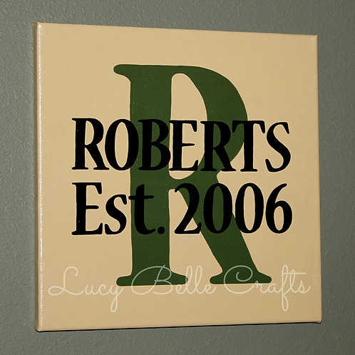 Personalized Family Name and Year on 11x14 or 12x12 Canvas 100% Hand Painted