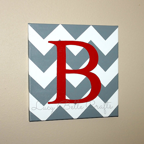 Initial on Chevron on 12x12 Canvas