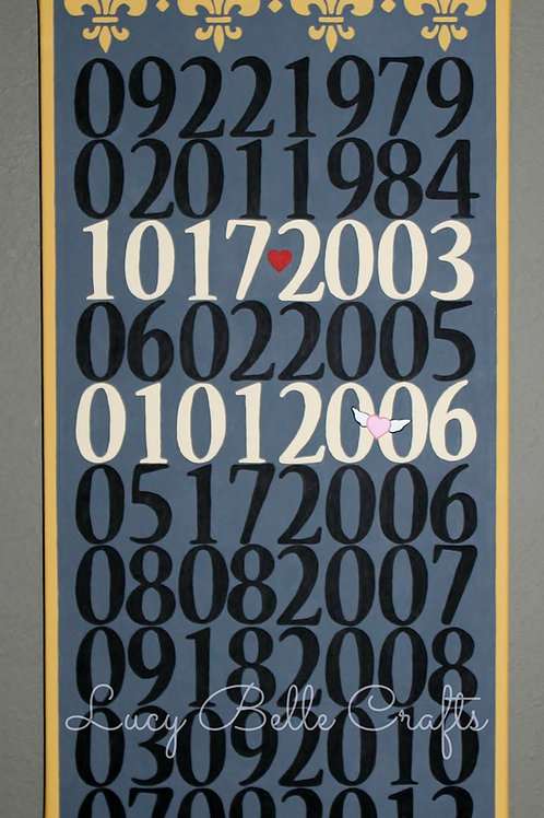 Important Dates 12 x 24 Up To 10 Dates