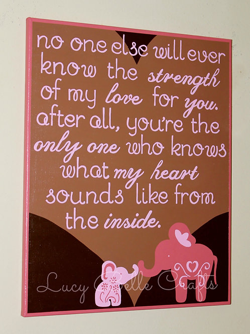 100% Hand Painted Mother & Daughter Elephant with Quote