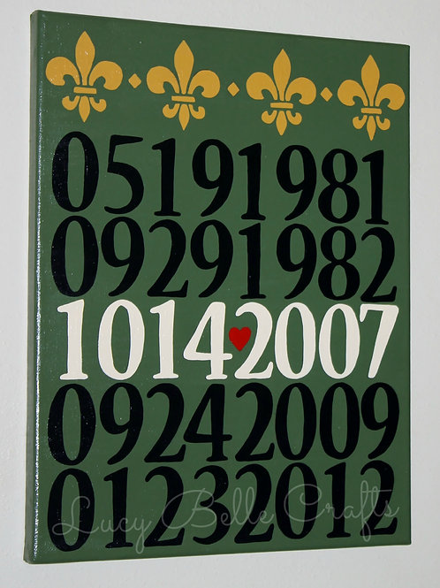 Important Dates 11 x 14 Up To 5 Dates