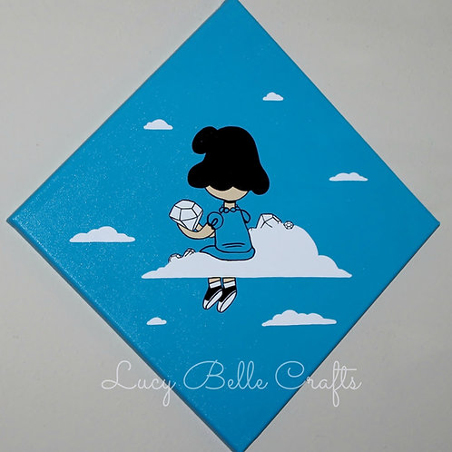 Lucy Van Pelt In The Sky With Diamonds Hand Painted on 12x12 Canvas