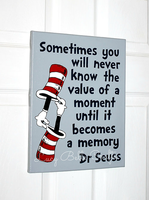 Dr. Seuss Customized Quote Vertical 100% Hand Painted onto 11x14 Canvas