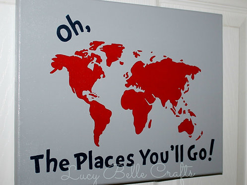 Oh, The Places You'll Go! 100% Hand Painted onto 11x14 Canvas