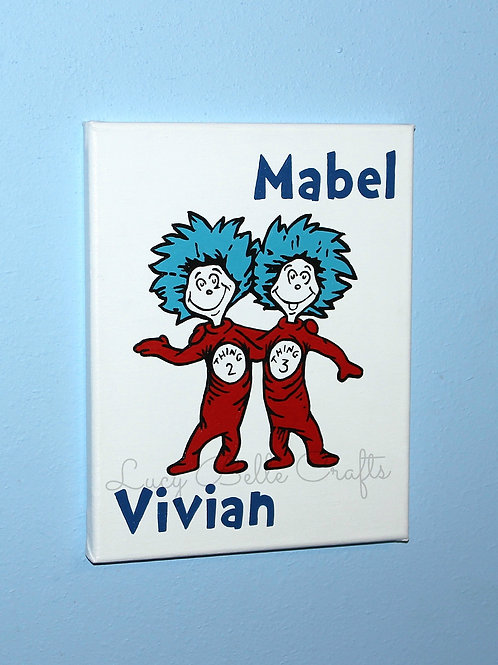 Thing 2 & Thing 1 100% Hand Painted with Personalization