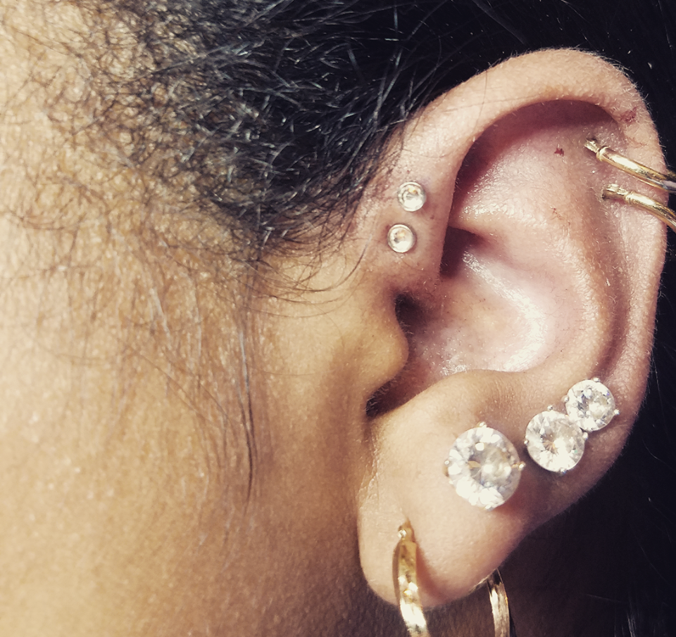 Double Forward Helix with Studs