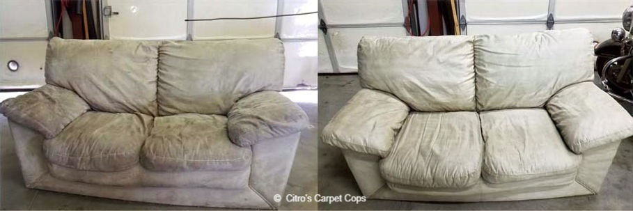 Love seat before and after cleaning