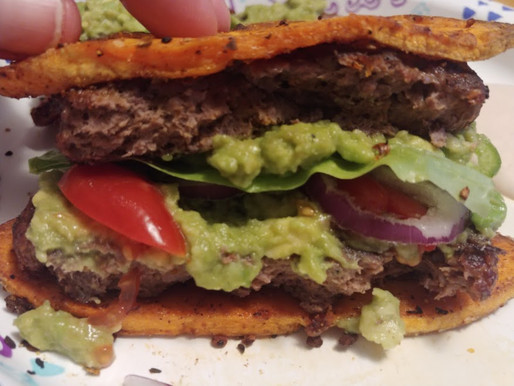180° Sweet Potato Chipotle Bun and Jalapeno Avocado Burger