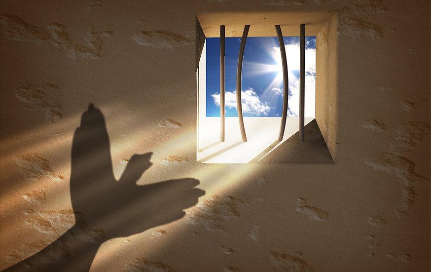 Freiheit in Sicht durch Gitterstäbe