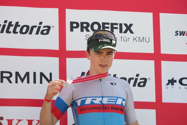 Bronzemedaille für Romano Püntener im Rennen um den Swiss Champ (Vorstufe zum Schweizermeister) in der Kategorie U17. Bild: rvs