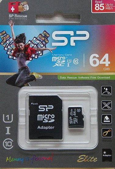 כרטיס מיקרו SD 64GB סיליקון פאוור
