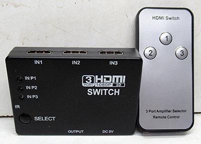 בורר HDMI מ-3 כניסות ליציאה אחת עם שלט