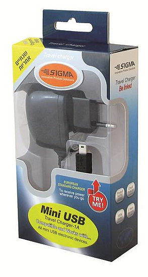מטען 5V 1A פלג מיני USB לחשמל