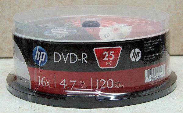 מארז 25 יחידות DVD HP בגליל