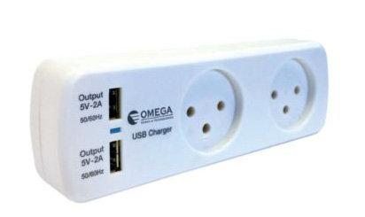 מפצל חשמל T2 עם שני שקעי USB לטעינה