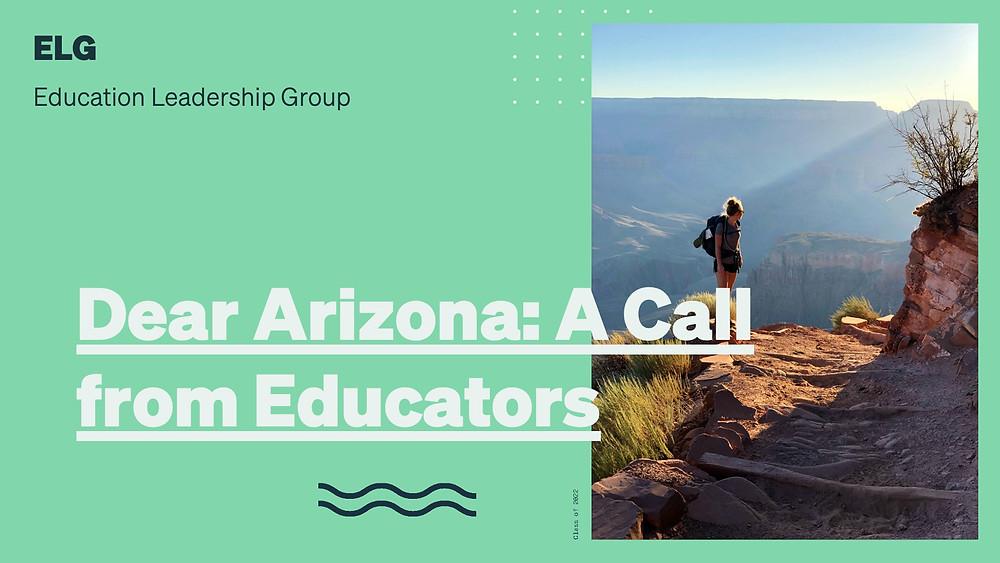 "ELG report cover image ""Dear Arizona: A Call from Educators"""