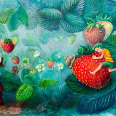 Juni, Erdbeeren, Mischtechnik auf Papier