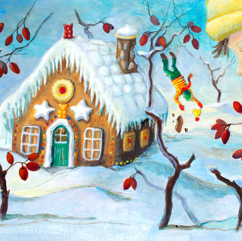 "Dezember, ""Lebkuchenhaus"", Acryl auf Papier"