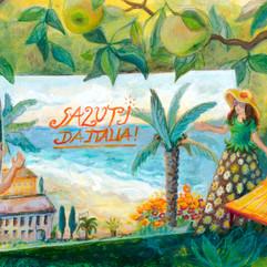 """August, """"Postkarte aus Italien"""", Acryl auf Papier"""