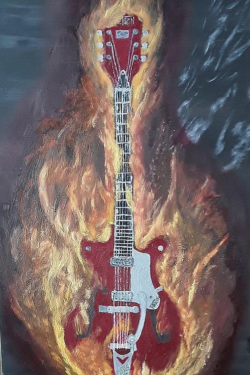 """Guitare en feu 15"""" x 30"""" x 3/4"""""""