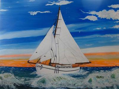 Le voilier huile sur toile galerie 40X30