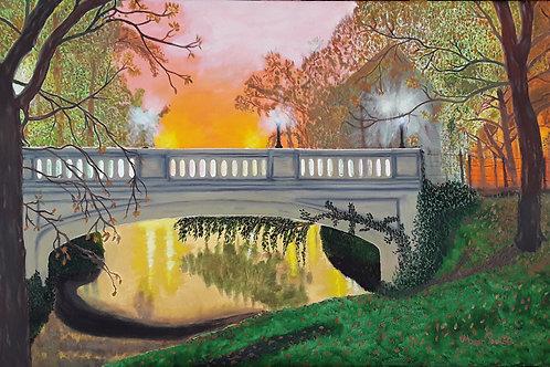 """Pont dans le brouillard 36 """"x 24"""" x 3/4"""""""